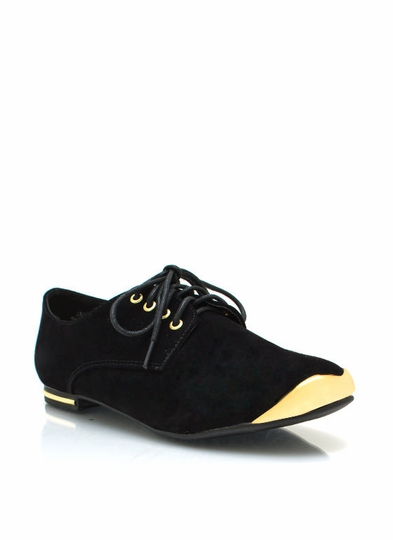 Velvet Metallic Oxford Flats