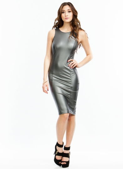 Victoria Faux Leather Bodycon Dress