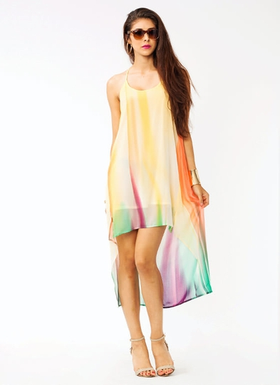 Watercolor High-Low Dress