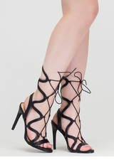 Wave Rider Lace-Up Caged Heels