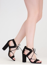 Weave It Alone Lace-Up Chunky Heels