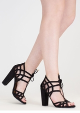 Web Design Chunky Lace-Up Heels