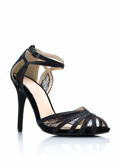 Web Of Lace Strappy Glitter Heels