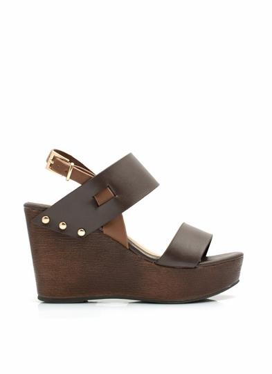 Wide Strap Faux Wood Wedges