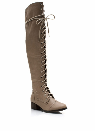 Wing Tip Knee-High Boots