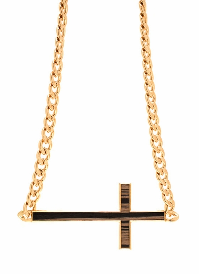 Wooden Cross Chain Link Necklace