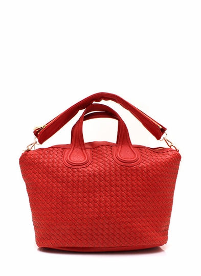 Woven Faux Leather Handbag