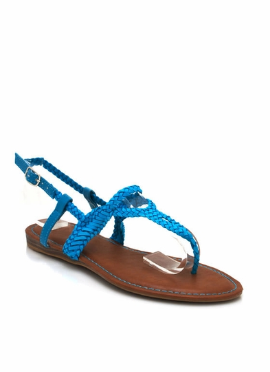 Woven Faux Leather Sandals
