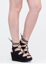 Wow Factor Lace-up Faux Suede Wedges