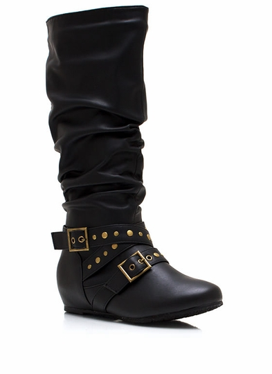 Wrap Around Slouchy Faux Leather Boots