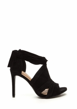 Wrap Game Faux Suede Cut-Out Heels