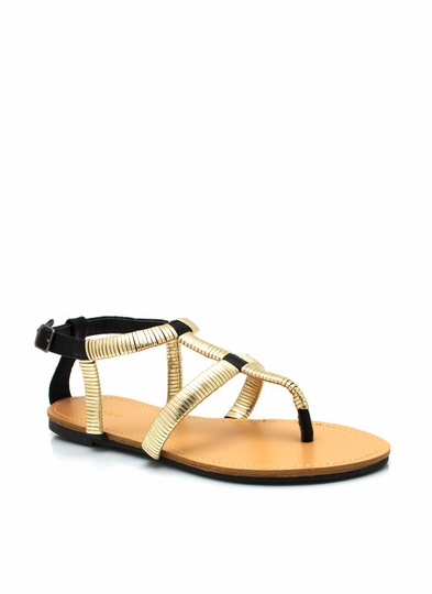 Wrapped Metallic Sandals