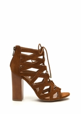 X-Laced Chunky Faux Suede Heels