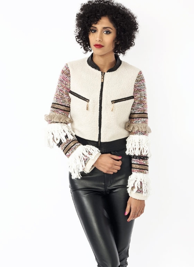Yarn Fringe Shearling Jacket