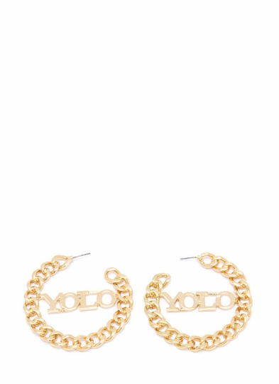 Yolo Chain Link Hoop Earrings