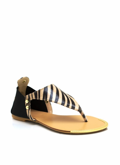 Zebra Triangle Thong Sandals