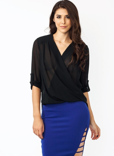 Zigzag Draped Surplice Blouse