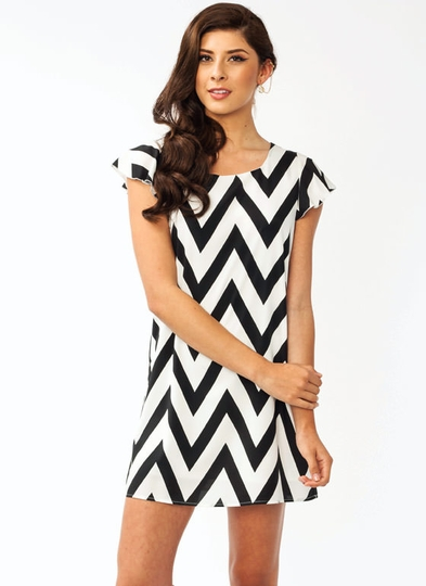 Zigzag Flutter Sleeve Dress