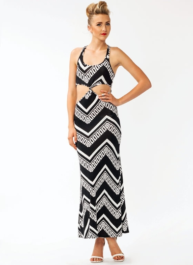 Zigzaggy Cut-Out Maxi Dress