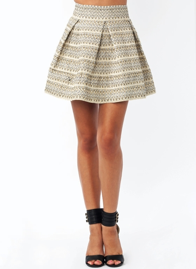 Zigzaggy Pleated Flared Skirt