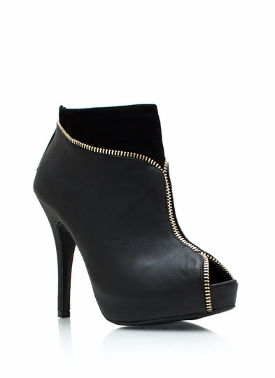 Zip Trip Peep Toe Booties