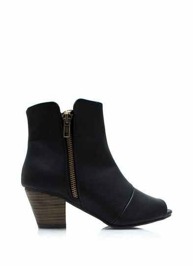 Zipped Away Peep-Toe Ankle Boots