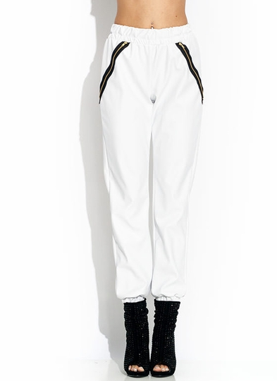 Zipped Faux Leather Joggers