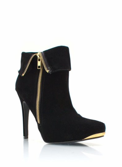 Zipped Up Velvet Booties