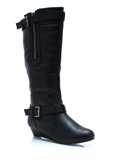 Zipped Up Wedge Boots