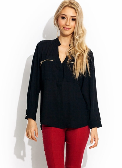 Zippy Mandarin Collar Blouse