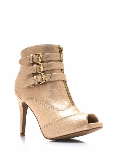 Zippy Metallic Tri-Buckle Booties