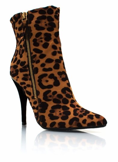 Zippy Suede Leopard Booties