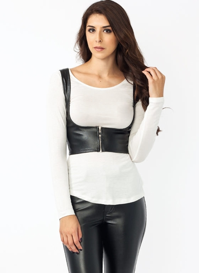 Zippy U-Neck Faux Leather Top