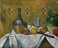 Paul Cezanne, Still Life: Flask, Glass, and Jug (Fiasque, verre et poterie), ca. 1877