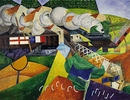 Gino Severini, Red Cross Train Passing a Village (Train de la Croix Rouge traversant un village), Summer 1915