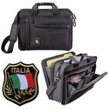 Italia Patch Leather Look Briefcase