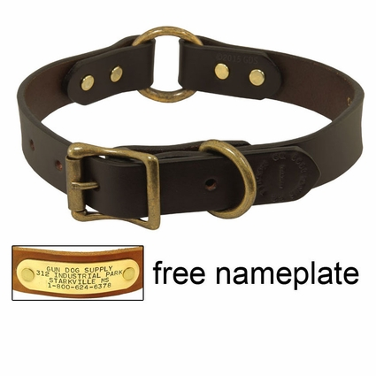 "1"" Leather Center Ring Dog Collar by Filson"