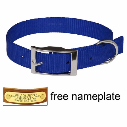 "3/4"" Blue OmniPet Single Ply Stitched Nylon Collar"