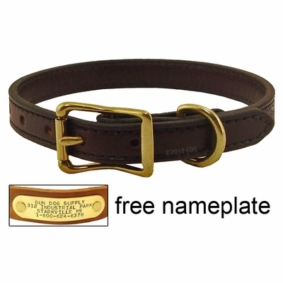 3/4 in. Back Trail Outfitters Bridle Leather Standard Puppy / Small Dog Collar