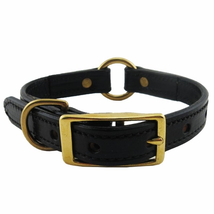 CLEARANCE -- 3/4 in. K-9 Komfort Deluxe Leather Center Ring Puppy / Small Breed Collar -- 12 in.