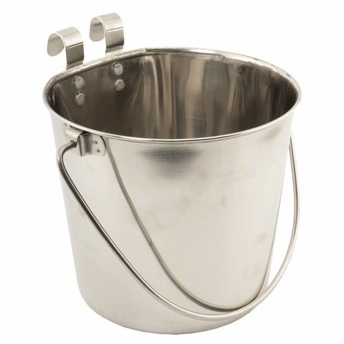 Flat Sided Water Bucket with Riveted Hooks - 4 Quart