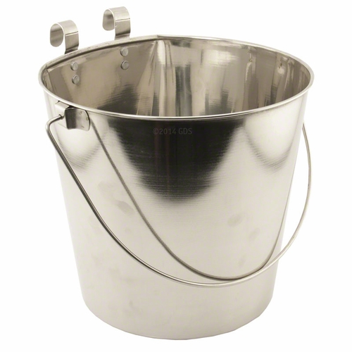 Flat Sided Water Bucket with Riveted Hooks - 9 Quart