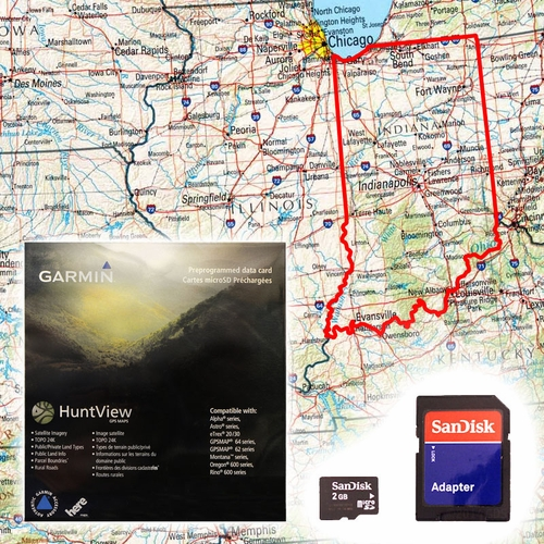 Garmin HuntView Map Card - Indiana