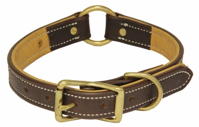 K-9 Komfort 1 in. Premium Deluxe Leather Center Ring Collar -- Brown Latigo with Light Buffalo Liner