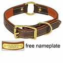 buy discount  K-9 Komfort 1 in. Premium Deluxe Leather Center Ring Collar -- Brown Latigo with Rust Cowhide Liner