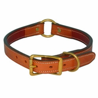 buy discount  K-9 Komfort 1 in. Premium Deluxe Leather Center Ring Collar -- Tan Skirting with Burgundy Latigo Liner