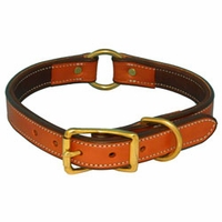 buy discount  K-9 Komfort 1 in. Premium Deluxe Leather Center Ring Collar -- Tan Skirting with Dark Brown Buffalo Liner