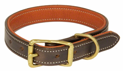 K-9 Komfort 1 in. Premium Deluxe Leather Standard Collar -- Brown Latigo with Rust Cowhide Liner