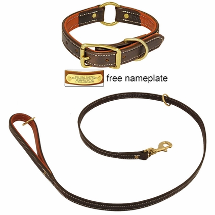 K-9 Komfort Premium Deluxe 3/4 in. x 4 1/2 ft. Leash and 1 in. Center Ring Collar -- Brown Latigo with Rust Cowhide Liner