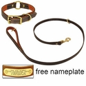 buy discount  K-9 Komfort Premium Deluxe 3/4 in. x 4 1/2 ft. Leash and 1 in. Center Ring Collar -- Brown Latigo with Rust Cowhide Liner